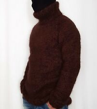Hand Knitted WOOL & MOHAIR mens sweater with turtleneck, LONG jumper hairy fuzzy