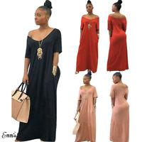 Women Casual Boho Short Sleeve V Neck Long Maxi Dress Kaftan Gypsy Beach Dresses
