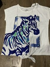 Nwt Justice White Top Shirt Size 5 Trendy Cool Blue Zebra