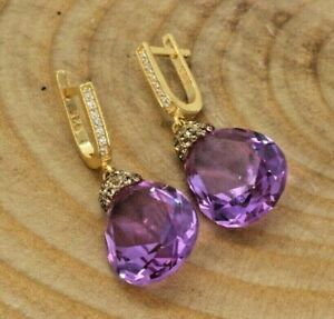 Gold Plated 925 Silver Handmade Turkish Amethyst Chic Earrings with Zircons