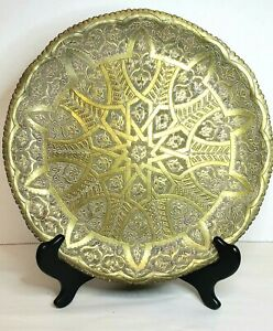 """Antique Moroccan Hammered Etched Art Brass Tray 13"""" Diameter"""
