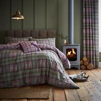 Catherine Lansfield Heritage Kelso Check Heather Duvet Cover Bedding Set Range