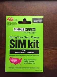 10 SIMPLE MOBILE SIM CARDS FITS ALL PHONES T-MOBILE NETWORK, LATEST MODEL 3 IN 1