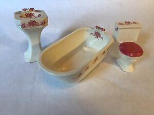 Miniature Dollhouse 1:12 3pc Bathroom Set porcelain