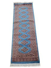 Blue 2 x 6 ft modern hallway rugs White Silk Highlights 173 x 58 cm Runner