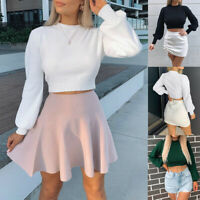 UK Womens Slim Knitted Crop Top Ladies Casual Long Sleeve Jumper Sweater Blouse