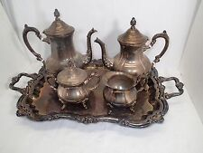 VINTAGE ESTATE TOWLE SILVER PLATE TEA COFFEE CREAMER SUGAR TRAY SERVICE SET
