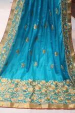 Bollywood Indian Silk Ethnic Blue Saree Heavy Pallu Sari Bridal Party Wear Dress