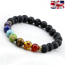 LADIES MEN 7 CHAKRA YOGA POWER STONE LAVA ROCK BEADS HEALING WRAP BRACELET UK C1