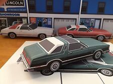 Papercraft 1978 Ford Thunderbird T-Top White / Green EZU-build Paper Model Car
