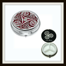 LARGE CELTIC SPIRAL & KNOT RED ENAMEL 3 SECTION BOXED PILLBOX ~ FROM SEA GEMS