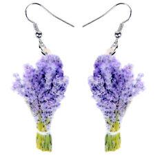 Acrylic Lavender Flower Bouquet Earrings Drop Dangle Plant Jewelry For Women Kid