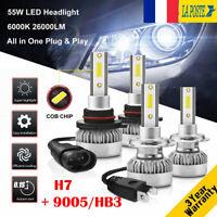 H7&9005/HB3 110W 26000LM LED Ampoule Voiture Feux Lampe Kit Phare 6000K 2 Paires