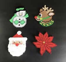 (4) Plastic Canvas Needlepoint Christmas Magnets Santa Snowman Reindeer Finished