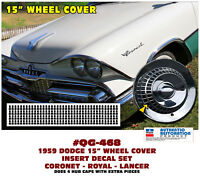 "QG-468 1959 DODGE - 15"" WHEEL COVER HUB CAP DECALS - CORONET - ROYAL - LANCER"