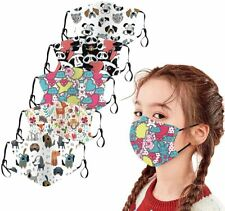 2 PIECES Kid face mask Adjustable elastic With Pocket Filter Fit 3-12 Year Old
