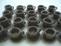 1 cm. 20 Coffee cup and 20  Saucer Metallic Dollhouse Miniatures Ceramic