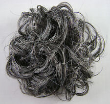 """Ponytail Extension 3"""" Scrunchie Synthetic Wrap Elastic 44 Dk Brown 50% Gray"""