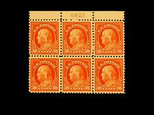 516 FRANKLIN 30 cent MNH Top Plate Block VF-EX++ L@@K++ CV$925