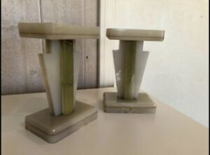 Pair of Vintage Art Deco Green Onyx Stone Bookends/ Statement Decor