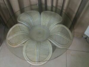 Gabriela Crespi Style Pencil Reed Flower Base Coffee Table Glass Top