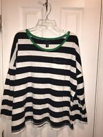 PREOWNED Women's Tommy Hilfiger Striped Shirt Size XL Navy Blue White B1-01