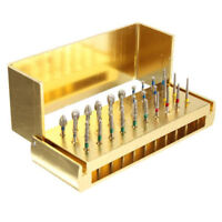 30pcs Dental Diamond Burs Drill Disinfection Bur Block High Speed Handpieces Set