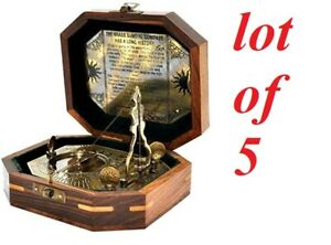 Antique vintage brass sundial pendulum antique finish with wooden box lot of 5