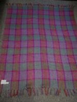 "VINTAGE DONEGAL DESIGN MOHAIR WOOL PURPLE GREEN PLAID THROW BLANKET 53"" X 63"""