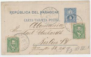 PARAGUAY 1895 uprated PS lettercard, ALTOS to Germany