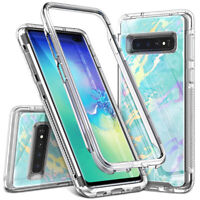 For Samsung Galaxy S10 S10 Plus Cover Marble Heavy Duty TPU Raised Edge Case
