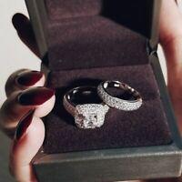 Luxus 925 Sterlng Silber Hochzeit Ring Zirkon Stein Damen Braut Schmuck Geschenk