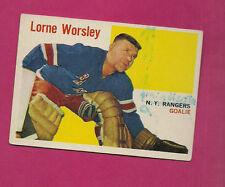 1960-61 TOPPS # 36 RANGERS LORNE WORSLEY GOALIE  CARD (INV#0149)