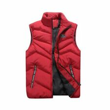 Men Zipper Vest Sleeveless Puffer Winter Warm Outwear Padded Safari Jacket Coats