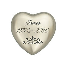 Personalised Patterned Silver Coloured Heart Urn Keepsake for Ashes Cremation