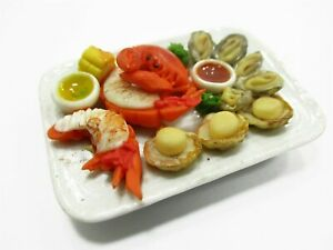 1:6 Dollhouse Miniature Food Seafood Lobster Crab Scallop Oyster 14713