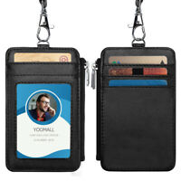 Black Leather Business ID Badge 4 Card Slot Holder & Lanyard Neck Strap Wallet