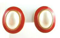 "Earrings Pierced Faux Pearl Oval Domed 3D Gold Tone Red Rim Length 1"" Classic"