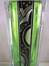 KARL PALDA CZECH MODERNIST ART DECO-uranium &clear CUT GLASS VASE-BLACK ENAMELED