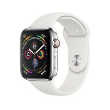 Apple Watch Series 4 44mm Stainless Steel with White Sport Band (GPS + CELL)
