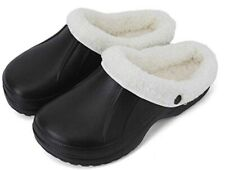 Waterproof Slippers Furry Lined Clogs Winter Garden Shoes Warm Fur House  Mules