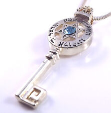 Star Of David Magen Shema Israel Key Necklace Pendant Kabbalah Gold Stone Hebrew