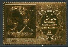 NUKUFETAU QUEEN ELIZABETH  II 60th BIRTHDAY OFFICIAL GOLD FOIL STAMP MINT NH