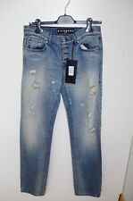 RICHMOND W 32 MENS BLUE JEANS DENIM FADED SLIM FIT SUPER SKINNY RIPPED TAPERED