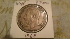 Belgium 1868 silver 5 Francs / Leopold II