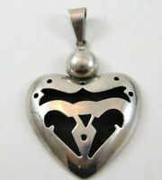Vintage Mexico 925 Sterling Silver Shadowbox Heart Pendant Enhancer Modernist