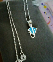 """.925 STERLING SILVER TURQUOISE STINGRAY NECKLACE w/ 16"""" ITALIAN CHAIN $17 VALUE!"""