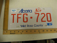 1997 97 ALBERTA CANADA LICENSE PLATE #TFG 720 NATURAL STICKER WILD ROSE COUNTRY