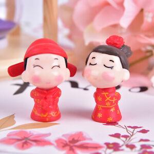 Miniature Chinese Couple Bride&Groom Figurine Dollhouse Fairy Garden Dec% WH
