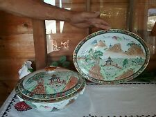 Stunning vintage antique Chinese Hand Painted Tureen Bowl & Lid +Serving Plate